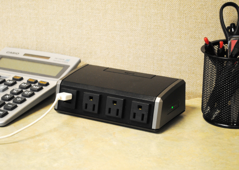 The Wiremold(R) Desktop Power Center by Legrand is a convenient solution to provide power and USB charging at the work surface. It offers 3 power outlets and 2 USB charging ports and is easy to install. (Photo: Business Wire)