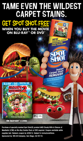 Get Spot Shot free when you buy Cloudy with a Chance of Meatballs 2 on BLU-RAY or DVD. Subject to terms/conditions. (Graphic: Business Wire)