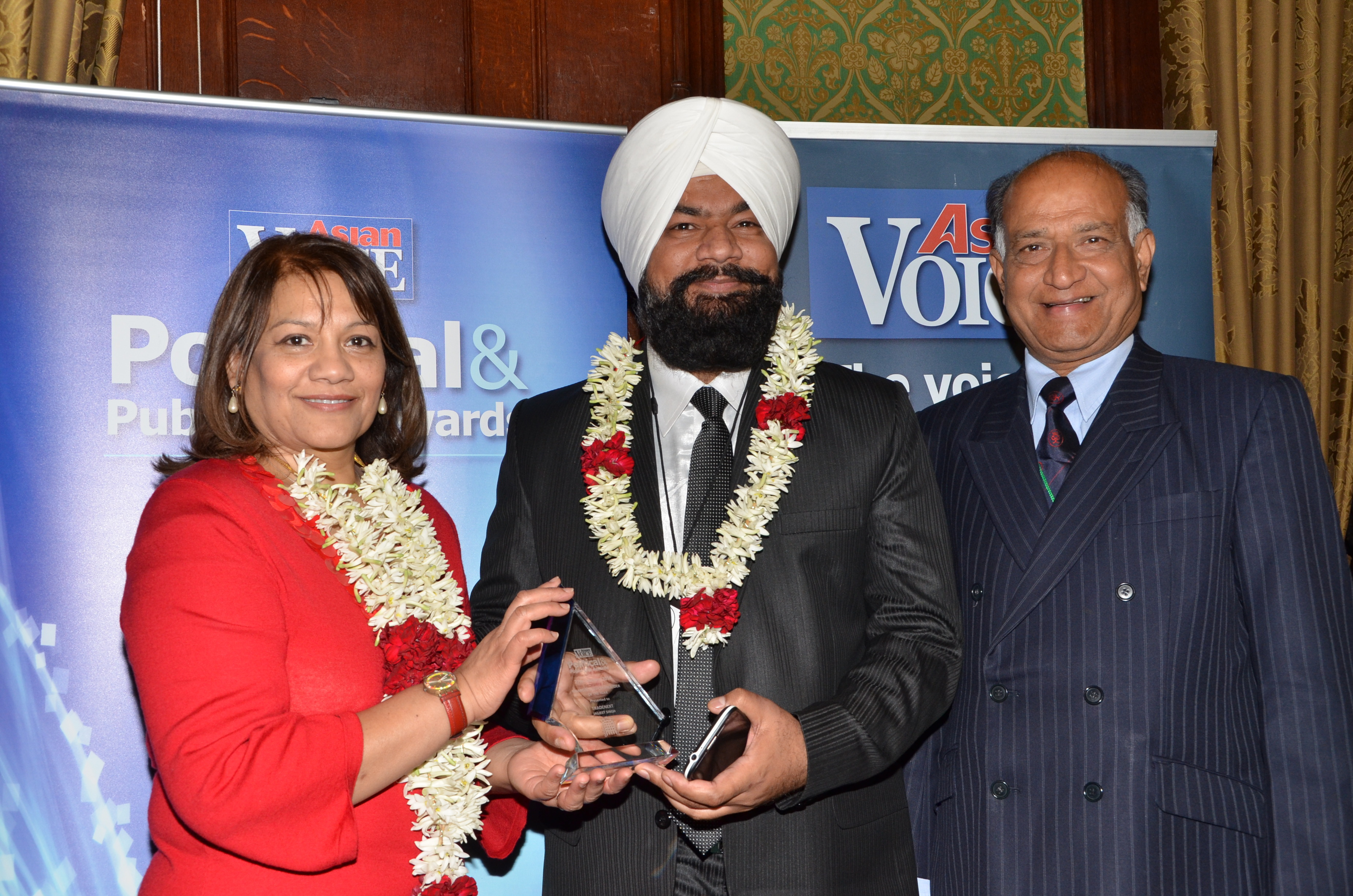 Valerie Vaz MP [Walsall South], Jagjeet Singh [Tradenext CEO] and CB Patel [Editor, Asian Voice]