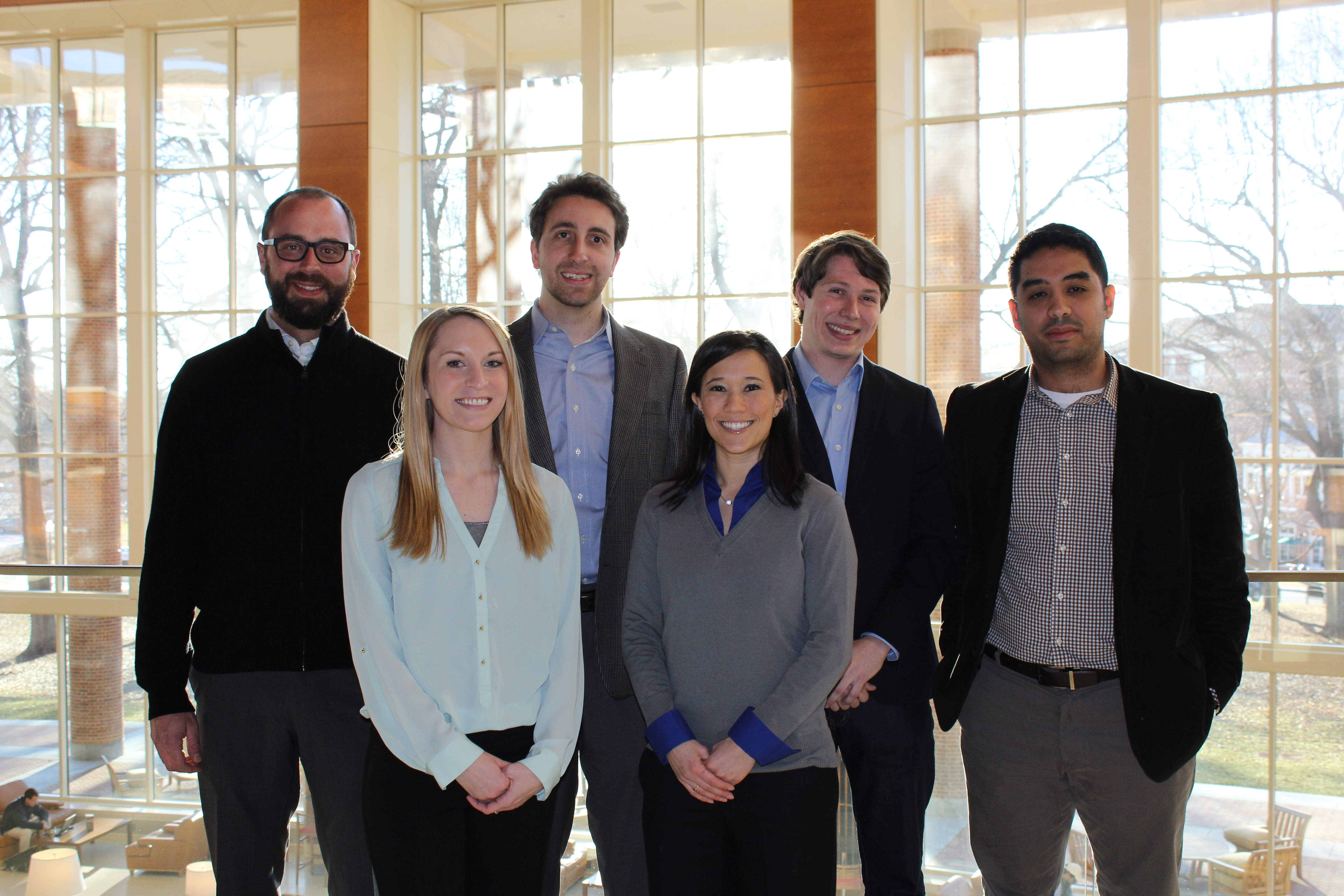 Wake Forest University students, left to right, Andy Bowline (MBA), Alison Arter (Ph.D), Kyle Murrah (Ph.D), Janel Suburu (Ph.D), John Hodnette (JD) and Gonzo Estupinan (MBA) advance as finalists in the first Breast Cancer Startup Challenge. (Photo: Business Wire)