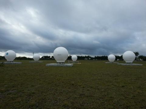 The six NOAA MEOLUT antennas in Miami Florida (Photo: Business Wire)