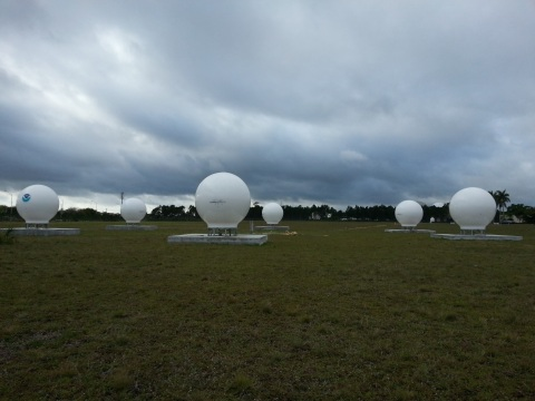 The six NOAA MEOLUT antennas in Miami Florida (Photo: Business Wire)