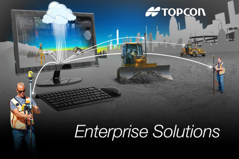 Topcon Enterprise Solutions offers constant communication, data sharing, scheduling, updating, supporting, and accurate productivity data in real-time—no matter where the job or the office is located. (Graphic: Business Wire)