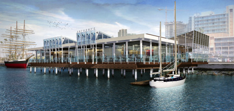 Shimmering on San Diego Bay, the proposed reimagined Anthony's Fish Grotto features expansive glass to enhance the spectacular views provided to diners. The elevated roof lines provide opportunities for natural light, and the dock offers patrons arriving by boat the chance to dock and dine. Architect David Robinson of Robinson Brown created this modern plan. (Photo: Business Wire)
