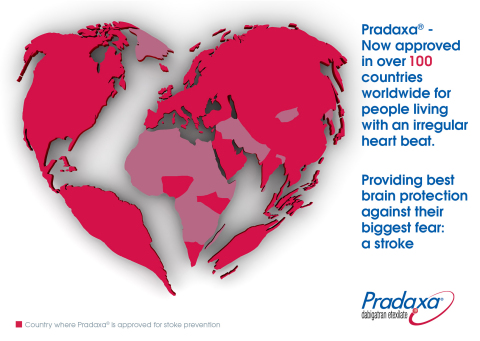 Pradaxa(R) - Now approved in over 100 countries worldwide for people living with an irregular heart beat. Providing best brain protection against their biggest fear: a stroke (Graphic: Business Wire)
