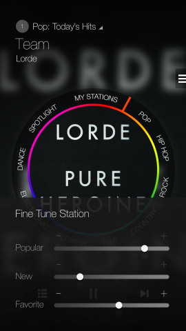Fine tune station on Milk Music - playing Lorde