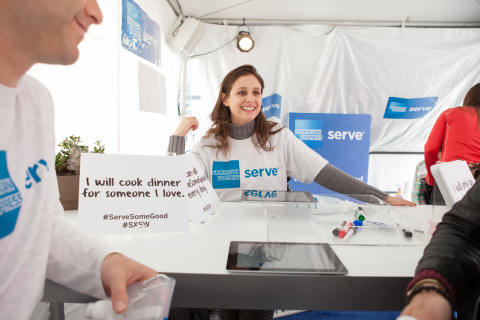 American Express asks SXSW community to help build awareness for financial exclusion while raising funds for United Way through its #ServeSomeGood campaign. (Photo: Business Wire)