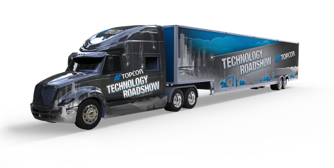 The Topcon Technology Roadshow will cover North America, traveling more than 23,000 miles in six months. (Graphic: Business Wire)