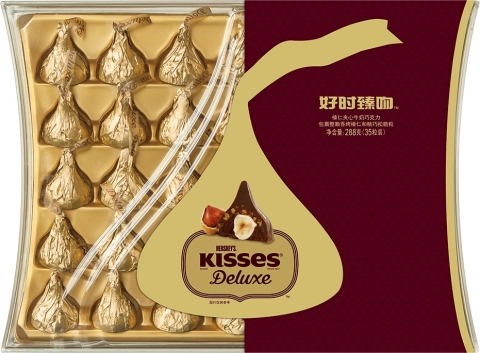 Hershey recently introduced Hershey's Kisses Deluxe Chocolates in China. The product was developed t ...