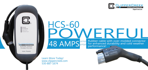 The new HCS-60 is a powerful and rugged 48 Amp station paired with a highly durable rubber molded vehicle cable and connector. Redefining power, convenience and value, this 240Volt, level 2 electric vehicle charging station, rated for both indoor and outdoor use, is priced at $899. Built to serve the residential and commercial markets, the HCS-60 packages all of ClipperCreek's 'best in class' standard product features, like a 3-year warranty, a fully sealed, rugged NEMA 4 station enclosure, and 25 feet of charge cable. This is the best valued 48 Amp charging solution on the market. (Photo: Business Wire)