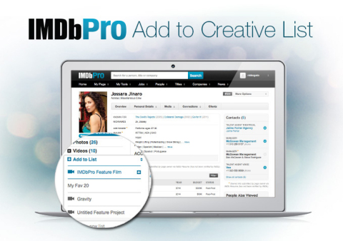 """""""With these new casting features, there's the potential to really discover new actors from IMDbPro. These tools will change list-making forever."""" -- MAD MEN's Casting Director, Carrie Audino (Graphic: Business Wire)"""