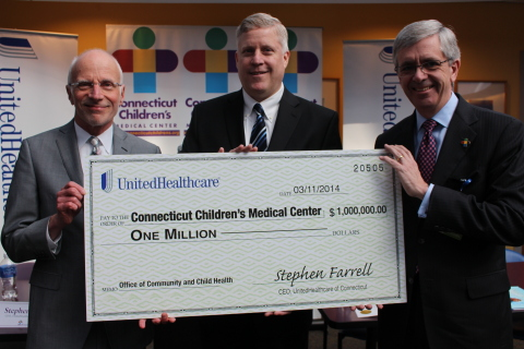 Stephen Farrell, CEO of UnitedHealthcare of New England (center), presents a $1 million grant to Dr. Paul Dworkin, executive vice president of Connecticut Children Medical Center's Office for Community Child Health (OCCH) (left) and Martin Gavin, president and CEO of Connecticut Children's, to support the newly created office. Connecticut Children's OCCH is a first-of-its-kind model for providing community-based, coordinated care for children with an emphasis on healthy child development, wellness, and disease and injury prevention (Photo: Connecticut Children's Medical Center).
