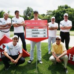 Sporting Greats on an Olympic mission to support Brazil's young golfers: BACK L-R Double world basketball champion Amaury Pasos, Olympic volleyball gold medallist Giovane Gavio, World Cup winner Roberto Rivelino and former Open Champion Todd Hamilton FRONT L-R Daniel Stapff, Rafael Becker and Felipe Navarro (Photo: Business Wire)