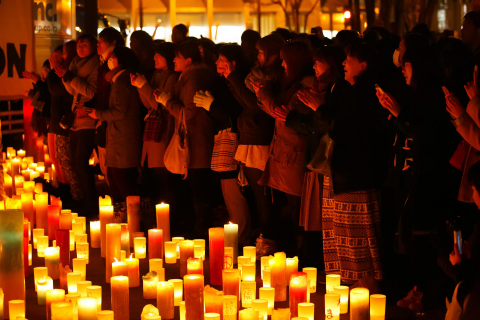 "Many people are offering prayers for the victims of the Great East Japan Earthquake - A scene at ""Candle Night,"" held in Fukushima (Photo: Business Wire)"