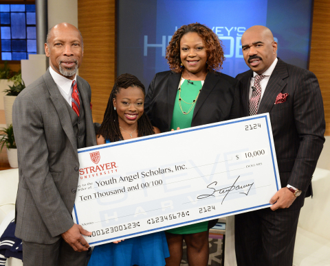 """Kelley Everett (second from right), founder of Youth Angel Scholars Inc. and Strayer University alumna (MAEd, '10), is recognized for developing tutoring and mentoring programs for Philadelphia youth during a recent episode of the """"Steve Harvey"""" daytime show. In addition to being named a """"Harvey's Hero,"""" Everett's organization received a $10,000 stipend from Strayer University and was honored by (from left to right) Dr. Michael Plater, president of Strayer University; Tierra Holmes, a student at Howard University and an early program scholar; and show host Steve Harvey. (Photo: Business Wire)"""