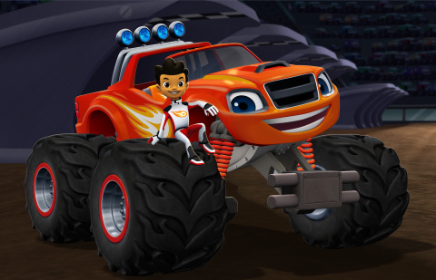 Blaze and the Monster Machines Pictured: AJ and Blaze in Blaze and the Monster Machines set to premiere on Nickelodeon this fall. Photo Credit: Nickelodeon. ©2014 Viacom International, Inc. All Rights Reserved.