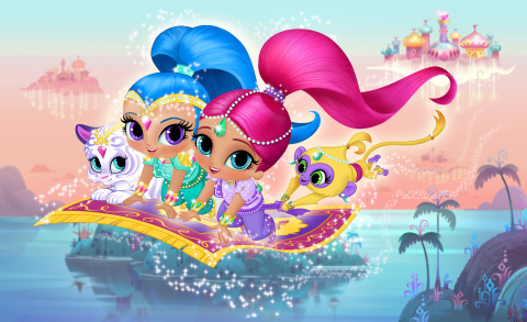 Shimmer & Shine Pictured: (L-R) Nahal, Shine, Shimmer and Tala in new animated preschool series, Shimmer & Shine, coming to Nickelodeon in 2015. Photo Credit: Nickelodeon. ©2014 Viacom International, Inc. All Rights Reserved.