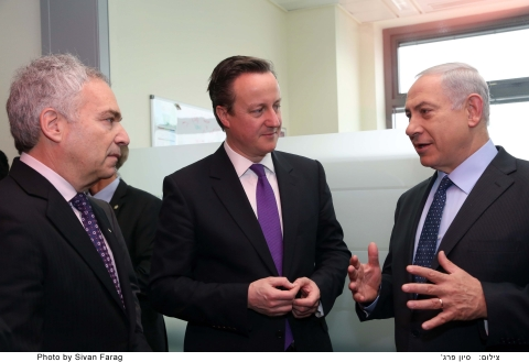 Erez Vigodman, Teva Pharmaceutical President & CEO; David Cameron, UK Prime Minister & Binyamin Neta ...