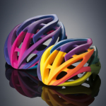 Bike helmet prototypes built on the Objet500 Connex3 Color Multi-material 3D Printer (Photo: Stratasys)