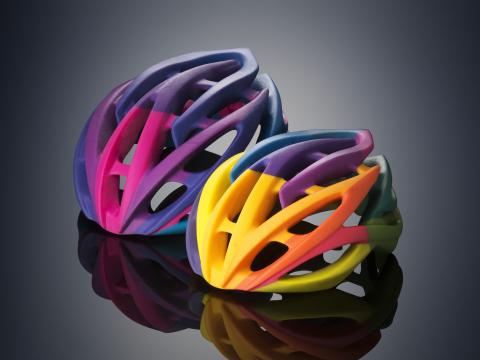 Bike helmet prototypes built on the Objet500 Connex3 Color Multi-material 3D Printer (Photo: Stratasys)