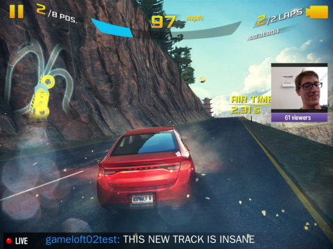 Using the Twitch Mobile SDK, Asphalt 8: Airborne is the first mobile game to have built-in streaming functionality. This image features a player broadcasting live on the mobile device to their Twitch channel. (Photo: Business Wire)