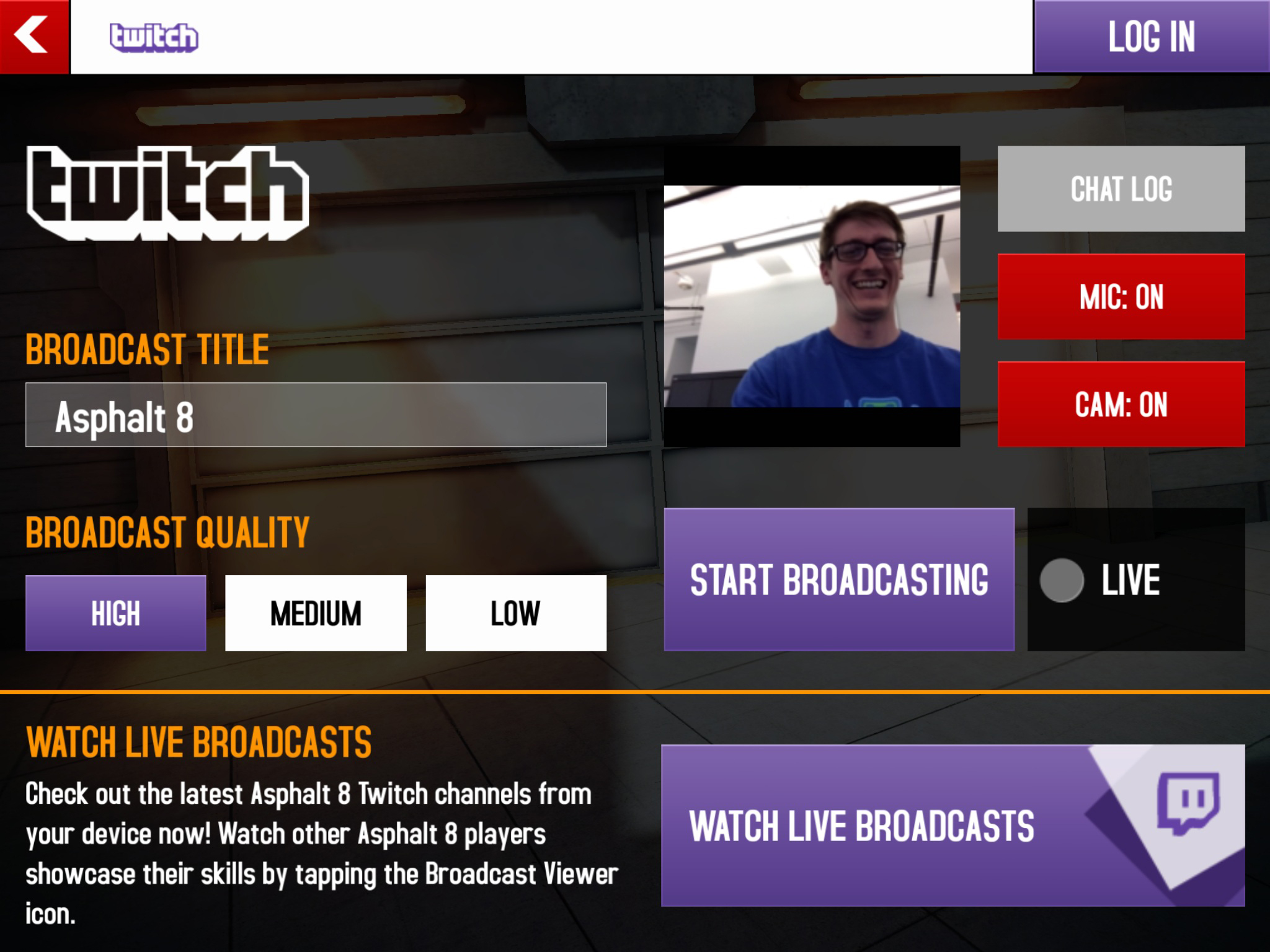Using the Twitch Mobile SDK, Asphalt 8: Airborne is the first mobile game to have built-in streaming functionality. This image shows feature options and how to log in to Twitch to begin live broadcasting. (Photo: Business Wire)