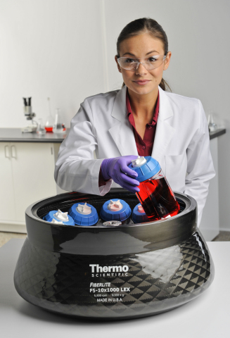 The new Thermo Scientific Sorvall RC BIOS 10 large capacity centrifuge system is ideal for a range of cell culture and bioprocessing applications. (Photo: Business Wire)