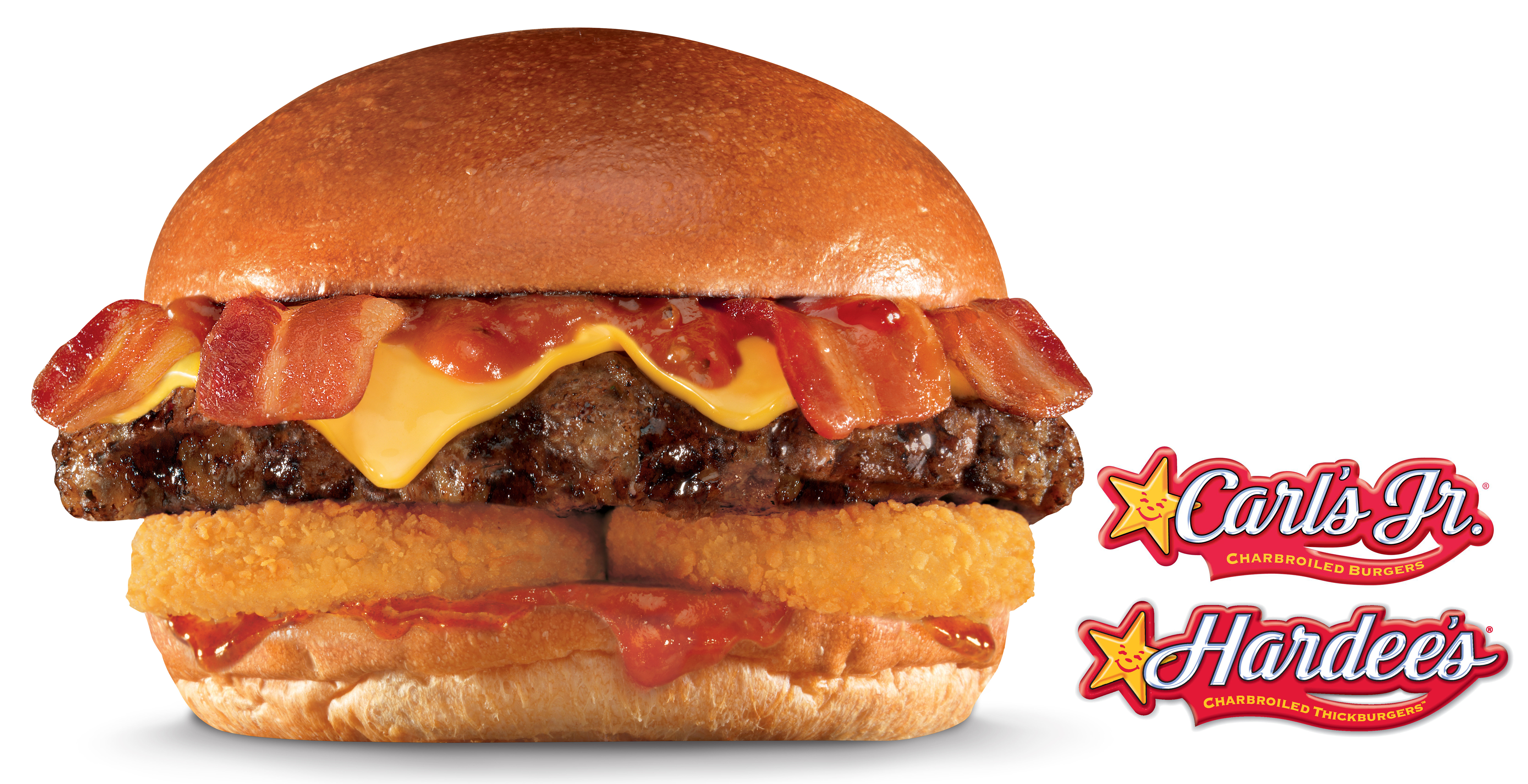 Featuring four strips of crispy bacon, twice the bacon of its classic menu counterpart, the new Western X-Tra Bacon Cheeseburger is available now at all participating Hardee's and Carl's Jr. locations as part of the restaurants' promotional tie-in with 20th Century Fox's release of X-Men: Days of Future Past, in theaters May 23. (Photo: Business Wire)