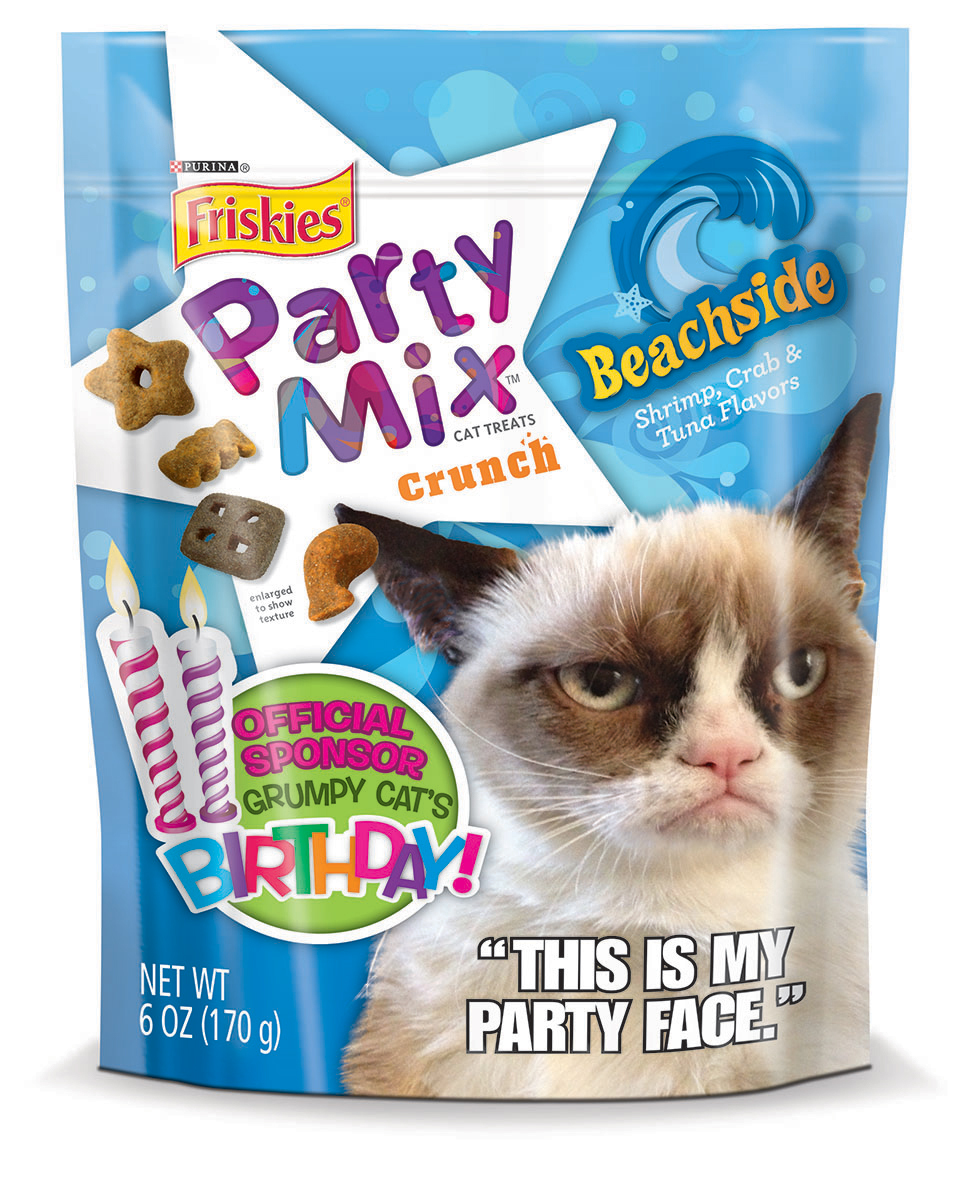 """Friskies® Party Mix™ celebrates the second birthday of its """"official spokescat"""" by releasing limited edition packaging that features Grumpy Cat and issuing #1MMGrumpyFrowns Challenge. For more details, visit www.Friskies.com/PartyMix (Photo: Business Wire)"""