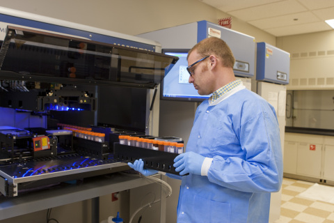 Theran Myers at work in Exact Sciences' headquarters in Madison, Wis. (Photo: Business Wire)