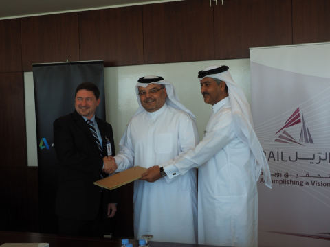 Callan Carpenter (VP, Global Services, Autodesk), Saad Al Muhannadi (Qatar Rail CEO) and Nasser Rash ...