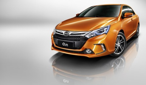 The BYD QIN with second-generation, dual-mode electric drive and a 1.5L Turbo Charged engine which together delivers 300 HP, but only consumes 1.6 L of fuel for every 100 Km traveled. (Photo: Business Wire)