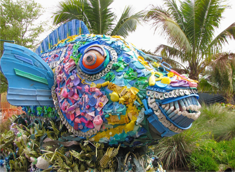 Close-up of the 16-foot-long parrot fish made by The Washed Ashore Project with ocean debris, which will be displayed at SeaWorld in Orlando starting March 21. (Photo: Business Wire)
