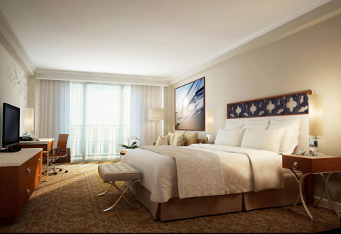 Renovated InterContinental® San Juan guest rooms reflect a harmonious combination of different beige and blue tones symbolizing sand and sea, the decorative accents and wood details evoke the emblematic colors and architectural characteristics of Old San Juan. (Photo: Business Wire)