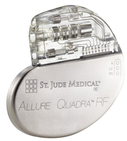 The Allure Quadra (TM) Cardiac Resynchronization Therapy Pacemaker (CRT-P) from St. Jude Medical, Inc. (Photo: Business Wire).