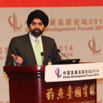 MasterCard President and CEO Ajay Banga delivers speech on financial inclusion at the China Development Forum. (Photo: Business Wire)