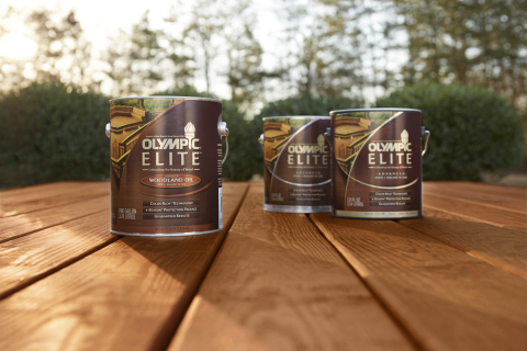 OLYMPIC® Paint and Stain announced today the launch of OLYMPIC® ELITE™ Advanced Stain + Sealant in One, a super-premium exterior stain line offering a new palette of wood- and nature-inspired hues, available exclusively at Lowe's stores nationwide. (Photo: Business Wire)