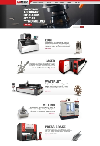 MC Machinery Systems Inc. launches new website taking advantage of the latest web design best practices and technologies. The flexible site features responsive design, so the layout is automatically optimized for whatever your method of viewing, desktop, laptop or mobile. (Graphic: Business Wire)