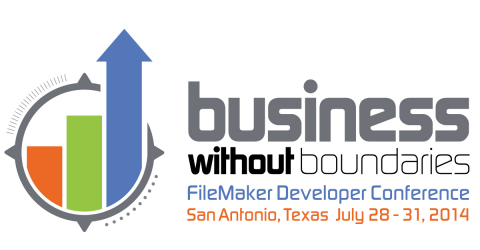 """""""Business without Boundaries"""" is the theme of this 19th annual conference, which features three new tracks, several interactive panels, and a hackathon with FileMaker challenges. DevCon 2014 will be held July 28-31, 2014 at the JW Marriott San Antonio Hill Country Resort & Spa in San Antonio, Texas, with a projected 1,200 FileMaker enthusiasts and 45 speakers from 27 countries participating. (Graphic: Business Wire)"""