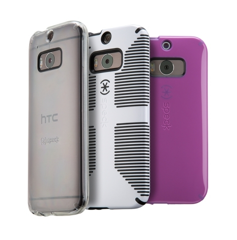 Speck CandyShell, CandyShell Grip, and GemShell cases for the new HTC Device (Photo: Business Wire)