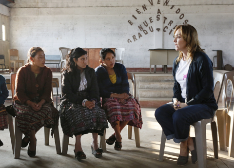 Angelica Fuentes, CEO of Omnilife and Founder of Angelissima, discusses leadership skills with girls in San Andres Xecul during a trip to Guatemala with Girl Up, a campaign of the United Nations Foundation, to learn more about UN programs that help adolescent girls receive an education, see a doctor, and stay safe from violence, Guatemala, April 17, 2013. (INSIDER IMAGES/Stuart Ramson for UN Foundation)