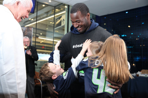 Seattle Seahawk Derrick Coleman greets fans at a recent Starkey Hearing Foundation Hearing Mission (Photo: Starkey Hearing Foundation)
