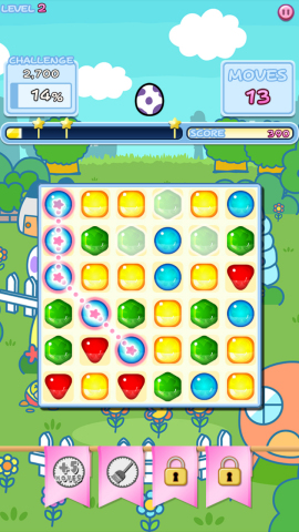 The rules of Tamagotchi L.i.f.e. Tap and Hatch are simple - connect three blocks to make them disappear. By clearing the blocks, you advance your Tamagotchi's growth cycle which prompts new Tamagotchis to appear. The puzzle adventure game embodies the spirit of the original experience with a contemporary twist. (Graphic: Business Wire)