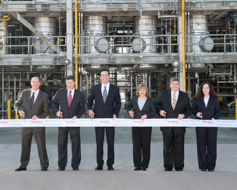 ExxonMobil Chemical representatives attend ribbon cutting of new plant to make synthetic lubricant base stocks in Baytown, Texas. (Photo: Business Wire)