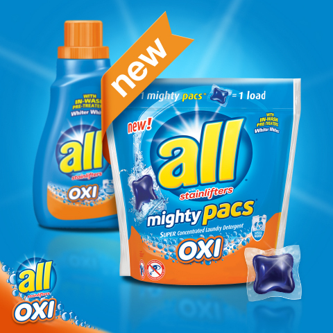 New all(R) OXI mighty pacs(R) are formulated with OXI-power stain fighters to fight tough stains, whiten and brighten. (Photo: Business Wire)