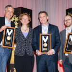 Awards presentation for Best Innovation Via ACH (pictured left to right) Richard McShirley of transmodus, Janet O. Estep, president and CEO of NACHA, Michael Diamond of Mitek, and Chris Morse of PayPal (Photo: Business Wire)