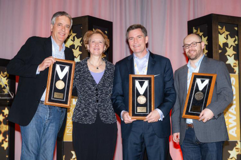 Awards presentation for Best Innovation Via ACH (pictured left to right) Richard McShirley of transm ...