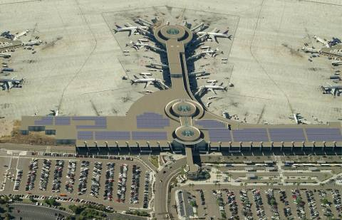Rendering showing solar system atop Terminal 2 at San Diego International Airport. (Photo: Business Wire)