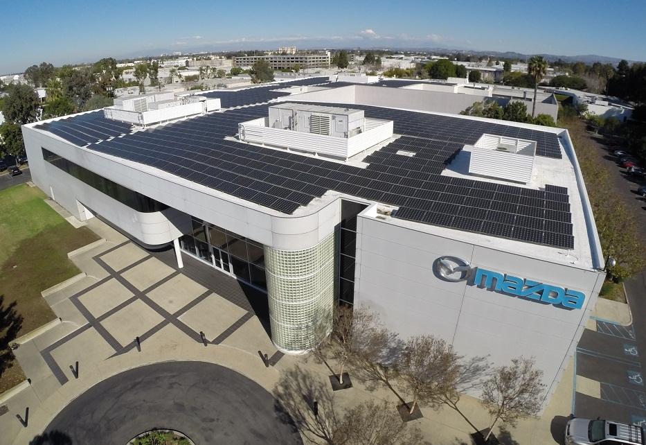 Mitsubishi Electric solar modules cover Mazda's US R&D Center. The 317 kW installation is in Irvine, Calif. (Photo: Mitsubishi Electric US, Inc.)
