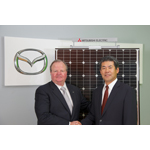Jim O'Sullivan, president and CEO for Mazda North American Operations, and Katsuya Takamiya, president and CEO for Mitsubishi Electric US, Inc. celebrate installation of 317 kW solar electric system on Mazda's US R&D Center. (Photo: Mitsubishi Electric US, Inc.)